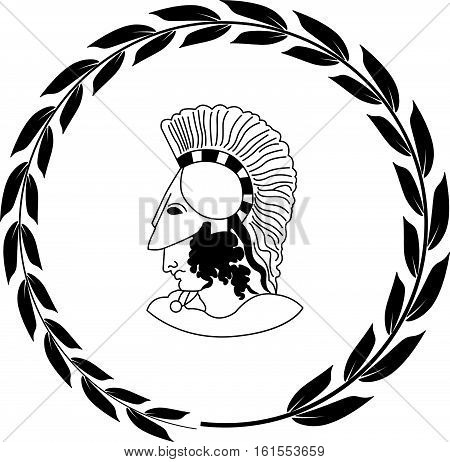 Hand drawn decorative logo with head of the ancient Greek warrior. Vector illustration.
