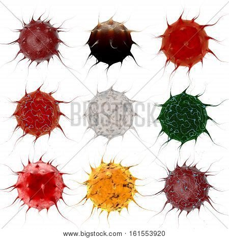 Virus. Bacteria. Microbe inside organism , viral disease epidemic. Isolate white background. 3d rendering