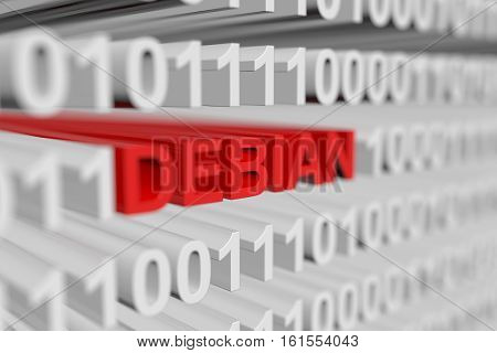 DEBIAN as a binary code with blurred background 3D illustration