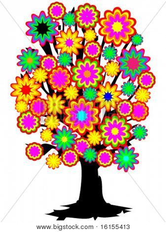 Color tree - vector illustration