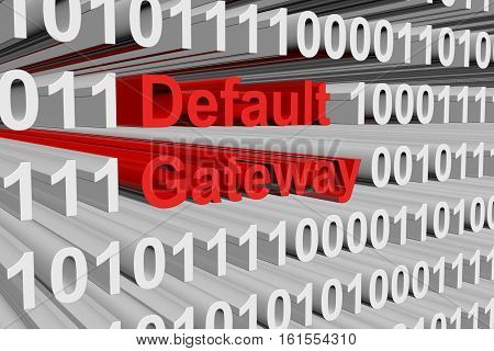 Default gateway in the form of binary code, 3D illustration
