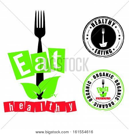 Eat Healthy With Grunge Rubber Organic Illustration