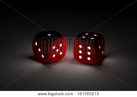 Dice in the form of neon 3D illustration