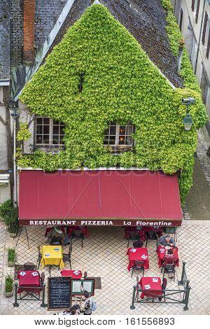 Amboise,France-June 2016: Street café in Amboise town