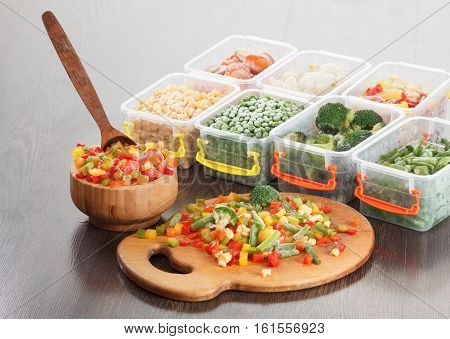 Healthy food packaging, frozen vegetable mix, cooking vegetarian nutrition