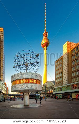 Berlin Germany - November 29 2016: Urania Weltzeituhr clock universal with TV tower Berlin in Alexanderplatz
