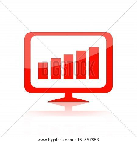 Growth chart on computer monitor isolated on white background