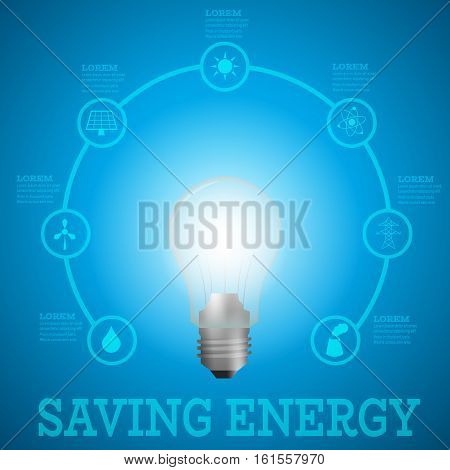 Luminous bulb on blue Luminous background surrounded with energy resources logos-solar panelfusion powersolar electricitywind turbinehydro energysmoking chimneypower line.Saving energy concept