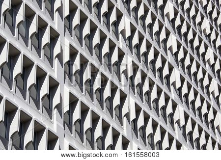 The abstract view of a skyscraper's windows in Auckland downtown (New Zealand).