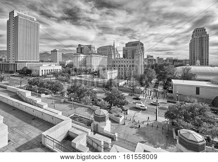 Black And White Picture Of Salt Lake City Downtown.