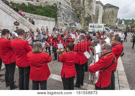 AMBOISE,FRANCE - JUNE 2016: Bollington brass band at the street contest