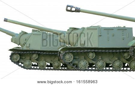 Soviet tanks of period of the second world war on white background