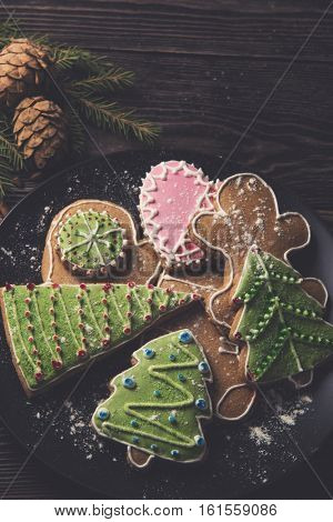 Different ginger cookies for new years and christmas on plate, closeup, toned photo