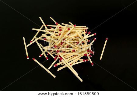 Pile Of Matches, From Side, Isolated