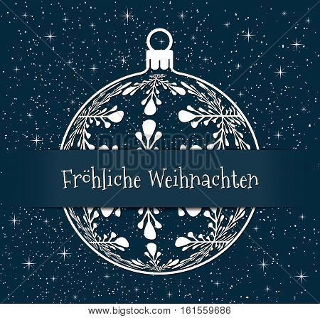 german christmas greeting card white silhouette of christmas ball with text Merry Christmas on snowy blue background, germany holiday illustration