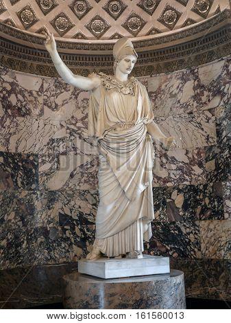 PARIS, FRANCE - AUGUST 28 2013: Statue of Athena known as the Pallas of Velletri, Louvre Museum, Paris, France