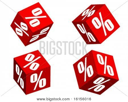 Four 3d dice with percent illustration