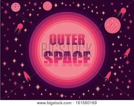 Outer Space In 80's Retro Style. Space Travel, Asteroids And Space Ships. Vector Illustration.