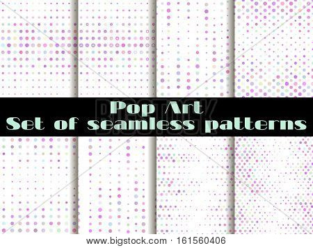 Dotted, Pop Art Seamless Pattern Background. The Style Of The 1960S. Set Vector Illustration.