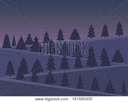 Night landscape with snow-covered Christmas trees in a flat style. Twilight in the mountains. Vector illustration.