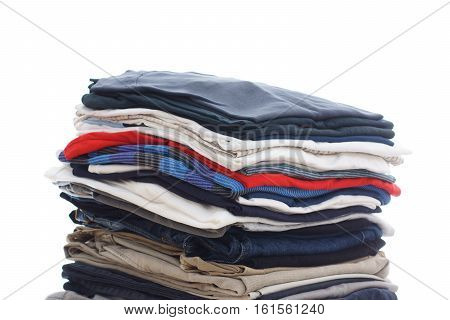Family Laundry Pile Of Clothing Isolated On White Background