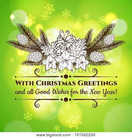 Vintage Christmas and New Year greeting card with handdrawn fir branches, bumps and stars. Vector eps10