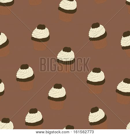 Seamless pattern with hand drawn and painted cupcakes. Vector graphic. Beautiful delicious sweets for girls. Creamy cakes illustration. Brown background.