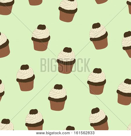 Seamless pattern with hand drawn and painted cupcakes. Vector graphic. Beautiful delicious sweets for girls. Creamy cakes illustration. Mint green background.