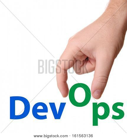 DevOps (Development & Operations) concept sign with hand on white