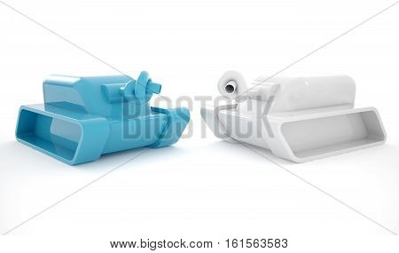 Two tanks with their cannon knotted in a sign of peace 3D rendering