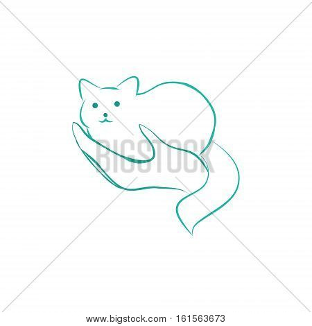 Cat in woman's hand - graphic image. Logo vet clinic or shelter for animals a symbol of care. Vector