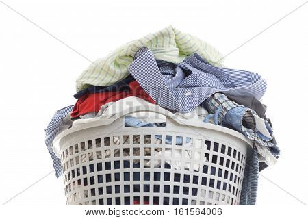 Laundry In A Plastic Basket, Isolated On White