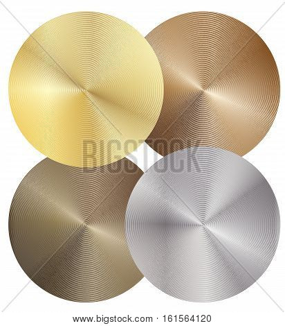 Set of four different metal discs. Vector design elements