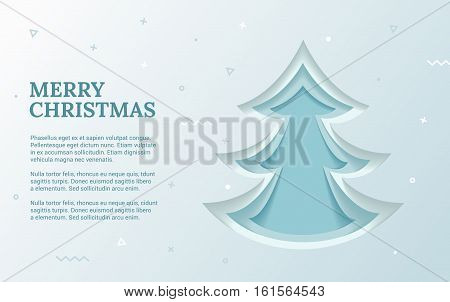 Christmas flyer template with Green Christmas tree. Elements of design material for holiday banner. In the illustration, there is room for text. Banner can be used in the newsletter, on the website for discounts.