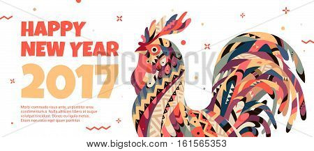 White web banner with a rooster in the style of the tribe and the text of the new year. Bright Banner can be used for advertising, greetings, discounts. Rooster symbol of 2017.