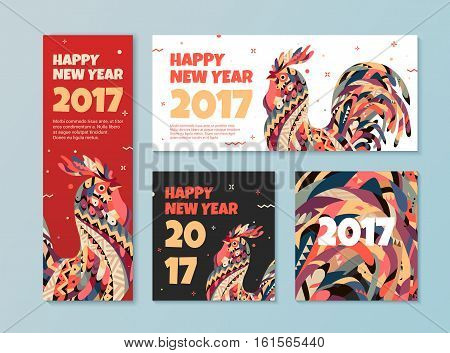 A set of banners for websites. Banners with the New Year and breeding cock. Rooster symbol of 2017.