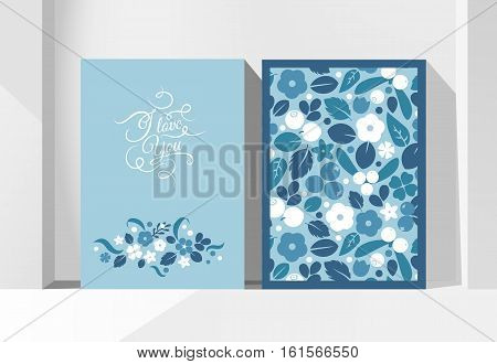 Vector flat flowers leaves and berries color silhouette background. Creative design illustration greeting card