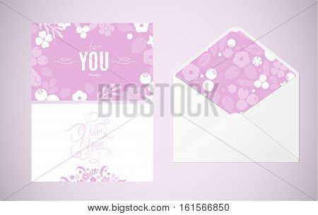 Vector greeting cards and envelope with flat flowers leaves and berries soft color silhouette background. Creative design illustration