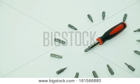 screw driver set on white background set of screw driver for do it yourself