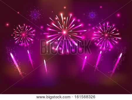 Festive Fireworks on the red Background.  Celebration Banner for New Year . Vector.