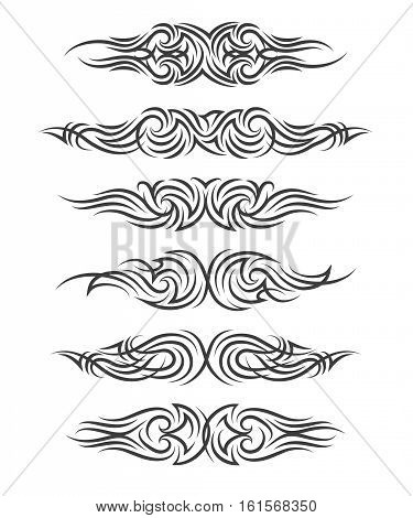Tribal tattoo set. Six tribal tattoo in polynesian style on white backgound. Vector illustration.