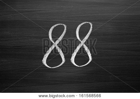 number eighty eight enumeration written with a chalk on the blackboard