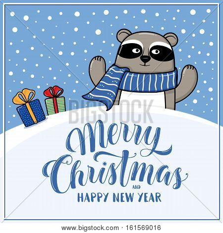 Merry Christmas and Happy New Year greeting card with raccoon, gifts, snow hills and lettering, cartoon vector illustration. Christmas and New Year card, invitation, poster, banner design with raccoon