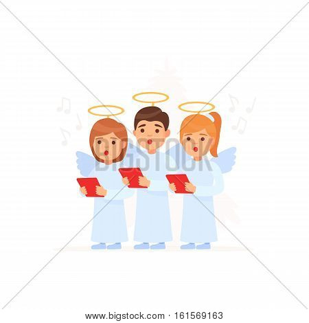 Cute kids in angel costumes going Christmas. Caroling.