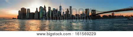 Panorama Of Manhattan Skyline During Sunset
