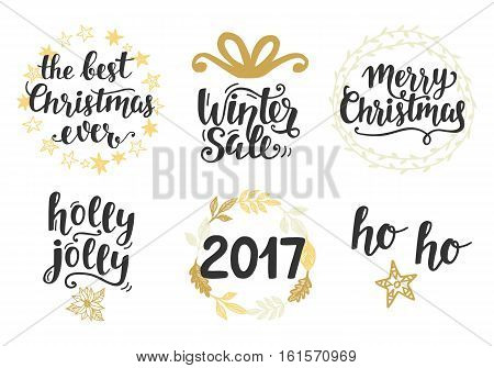 Christmas holidays hand lettering set, isolated on white. Merry Christmas, Winter Sale, 2017, Holly Jolly. Typography design elements for greeting cards, invitations. Vector illustration