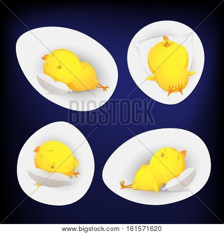 Four golden chickens sleeping inside egg - Don't wake till new year 2017