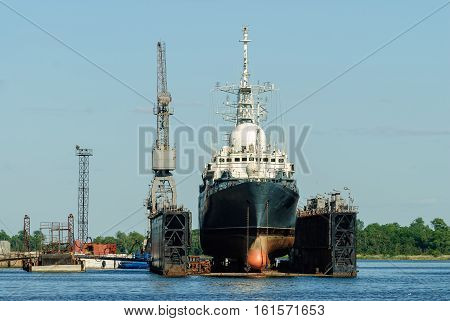Baltiysk, Russia - June 29, 2010: The great ship under renovation in the yard