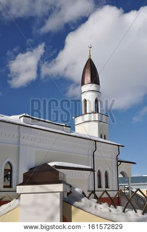 Congregational mosque under the snow. Winter. Yaroslav.