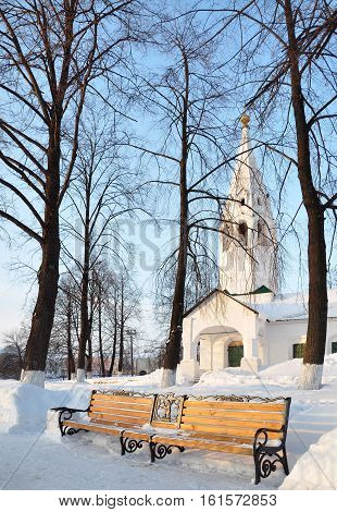 Beautiful decorative bench in the Park. Winter. Russia.
